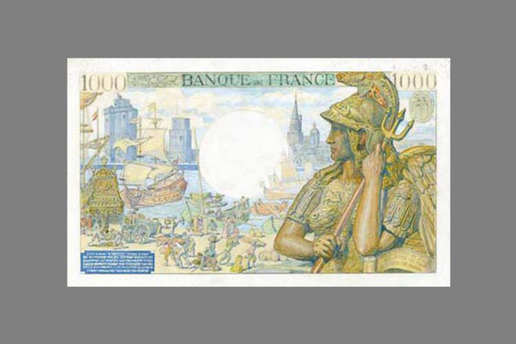 1000 Francs Colbert 1939 verso